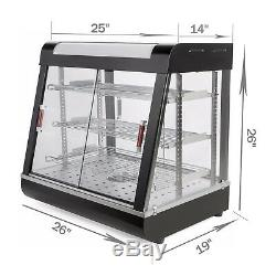 15&27Countertop Heated Pizza Display Case Commercial Food Warmer Cabinet