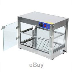 2-Tier 750W Commercial Countertop Food Pizza Warmer Display Cabinet Case