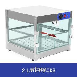 2-Tier Commercial Food Warmer Countertop Heat Pizza Warmer Display Case Samger