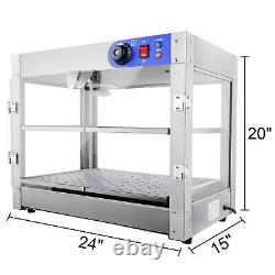 2 Tier Hot Food Warmer 750W Commercial Pie Pizza Cabinet Display Case Countertop