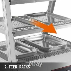 2 Tiers Commercial Food Warmer Cabinet 47x25x30 Countertop Pizza Display Case