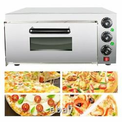 2000W Electric Commercial Pizza Maker Single Layer Stainless Steel Bread Oven US