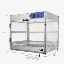 24x20x15 2-Tier Commercial Countertop Food Pizza Warmer Display Cabinet Case