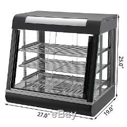 27in Commercial Food Warmer Display Case Pizza Warmer Pastry Display Case 1500W