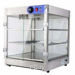 3-Tier Commercial 20x20x24 In Food Pizza Warmer Countertop Display Cabinet Case