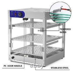 3-Tier Commercial Food Warmer Court Heat pizza Countertop Display Warmer Cabinet