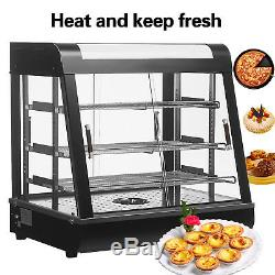 3 Tiers 27 Commercial Food Pizza Warmer Cabinet Countertop Heated Display Case
