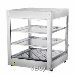 3 Tiers Commercial stainless Food Pizza Warmer Countertop Heated Display Case