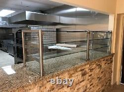 84 7ft Pizza Display Case Glass Sneeze Guard All Stainless Steel With Shelf