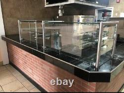 96 8' ft Stainless Steel Frame less Pizza Display Case Sneeze Guard Style