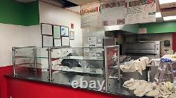 96 8ft Pizza Display Case Glass Sneeze Guard All Stainless Steel With Two Shelves