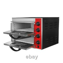 Commercial Double-layer Electric Pizza Oven 220V Hollow Boron Plate Easy Control