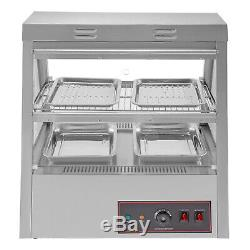 Commercial Food Warmer Court Heat Food Pizza Display Warmer Cabinet 43Glass SUS