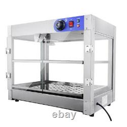 Commercial Food Warmer Court Heat Food pizza Display Warmer Cabinet 2-Tier Glass
