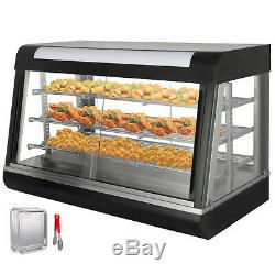 Commercial Food Warmer Display Case Heat Food pizza Display Warmer Cabinet 3Tier