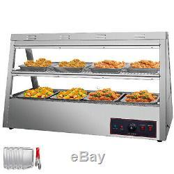 Commercial Food Warmer Pizza Warmer 48-Inch Pastry Warmer Tilt-Up Doors 1600W
