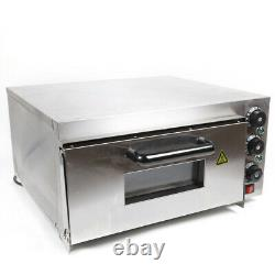 Electric 2000W Pizza Oven Single Deck Fire Stone Stainless Steel Bread Toaster
