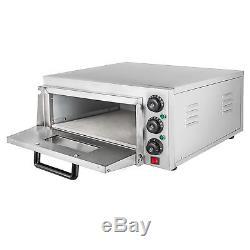 Electric 2000W Pizza Oven Single Deck Restaurant Countertop Ceramic Stone 110V