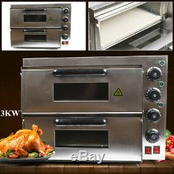 Electric 3000W Pizza Oven Double Deck Countertop Fire Stone Bread Baking Oven