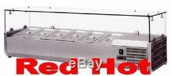 Fma Omcan 39594 6 Pan Countertop Refrigerated Pizza Topping Rail RS-CN-0006-P