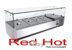 Fma Omcan 40535 4 Pan Countertop Refrigerated Pizza Topping Rail RS-CN-0004-P