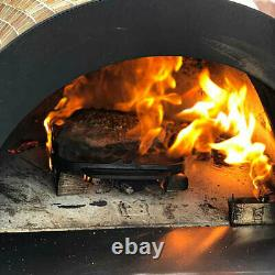 HPC Forno Dual Fuel Countertop Tile Pizza Oven on Cart, Black Onyx, Propane