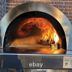 HPC Forno Dual Fuel Countertop Tile Pizza Oven on Cart, Ocean Blue, Natural Gas