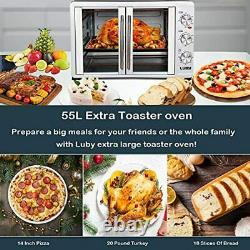 LUBY Large Toaster Oven Countertop, French Door Designed, 18 Slices, 14'' pizza