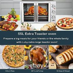Large Toaster Oven Countertop French Door Designed, 18 Slices, 14'' pizza, 20lb