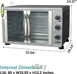Luby Lar Toaster Oven Countertop French Door Designed, 18 Slices, 14'' Pizza, 20