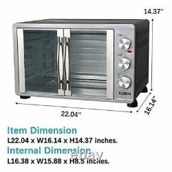 Luby Large Toaster Oven Countertop French Door Designed, 18 Slices, 14'' pizza
