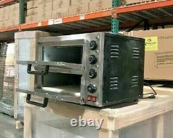 NEW 16 Electric Double Stone Base Pizza Oven Bakery Pizzeria Cooker Wings 110V
