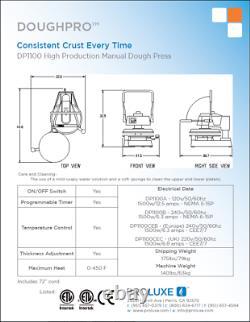 Pizza Dough Press countertop, up to 18 diameter, manual DP1100