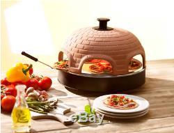 Pizzarette Classic 6-Person Countertop Tabletop Mini Pizza Oven Terracotta Dome