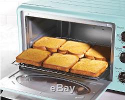 Retro Style Toaster Oven 6 Slice Convection Aqua Blue Kitchen Countertop Pizza