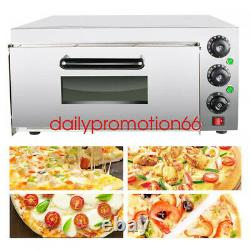 Single Electric Countertop Pizza Oven Stainless Steel Commercial Thermometer New