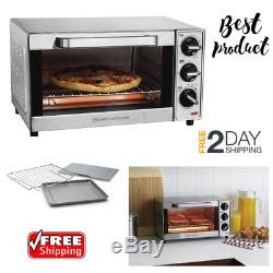 Stainless Steel Countertop Toaster Oven 4-Slice Baking Cooking Pizza Maker Large