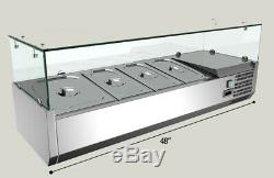 TECHTONGDA 48'' Refrigerated Countertop Pizza Prep Table Stainless Steel