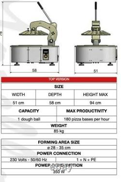 The Pizzarella is the Only Pizza dough cold press/ stretcher MOD. Counter top