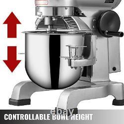 VEVOR 10Qt Dough Food Mixer Commercial 450W 3 Speed Pizza Bakery Dough Blender
