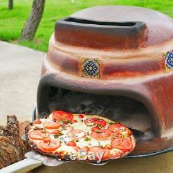 Wood Fired Tile Pizza Oven Outdoor Backyard Brown Countertop Patio Burn Cooking